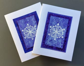 Snowflake on purple embossed blank cards (set of 2), individually handmade:  A2, notecards, fine cards, winter, let it snow, SKU BLA21023