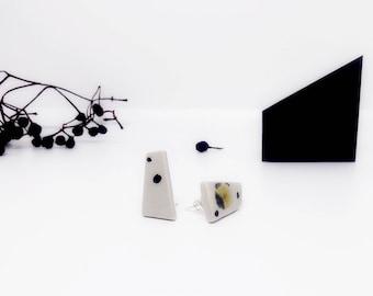 Ceramic trapezium earrings, geometric stud earrings, trapezium shape stud earrings, arty earrings, grey stud earrings, earrings with dots