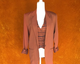 Vintage 1990s Burnt Orange Southwestern Blazer and Vest Set
