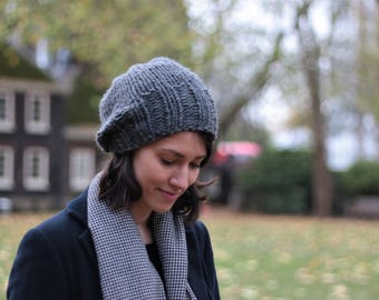 Slouchy Beanie Hat, Womens Knitted Hat, Chunky Slouchy Beanie Hat, Winter Hat, Gray