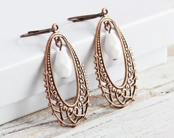 Antiqued Copper Plated Filigree Drop Earrings with White Czech Glass Beads