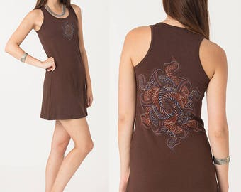 Cotton Tank Dress With Screen Printed Mandala, Yoga Top, Festival Dress, Yoga Clothes, More Colors Available