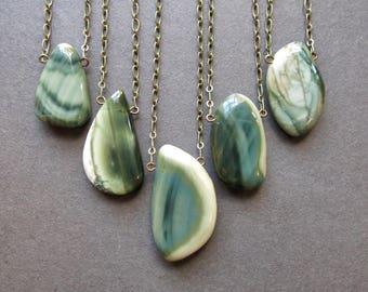 Jasper Necklace - Raw Stone Necklace - Boho Stone Pendant - Imperial Jasper Pendant - Heart Chakra Necklace - Healing Stone Jewelry