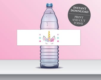 "INSTANT DOWNLOAD - Unicorn Water bottle Labels, Magical Unicorn Water Bottle Labels, Unicorn Birthday Labels, 8""x2"" label OLDP10"