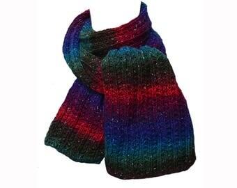 Hand Knit Scarf - Fuchsia, Teal & Royal Blue Stripe Wool Silk