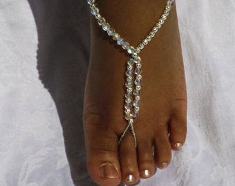Barefoot Sandals Bride Wedding Beach Crystal Silver