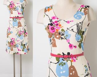 60s Dress, Vintage ivory dress, Vintage floral dress, Mad Men Dress, Vintage sleeveless dress, Pink floral dress, 60s Knit Dress - S/M