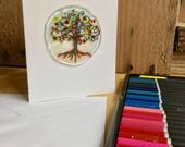 Stained Glass Tree of Life Fused Keepsake Greeting Card Hand Painted Glass Special Occasion