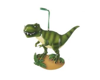 FREE SHIPPING Green Tyrannosaurus Rex Dinosaur Personalized Christmas Ornament / T-Rex / Custom Names or Message / Stocking Stuffer