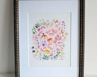 Technicolor Floral Painting - Original Watercolor Painting - 8x10 inches on paper