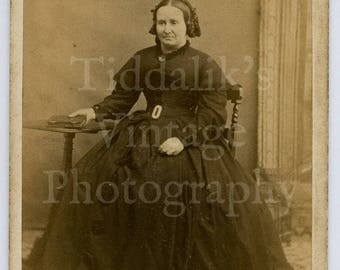 CDV Carte de Visite Photo Victorian Woman in Mourning Hooped Dress Portrait - Photographer Unknown - Antique Photograph