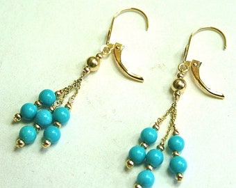 14k solid yellow gold natural 4mm Arizona turquoise earrings leverback 1.9grams