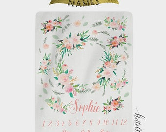 Baby blanket - milestone blanket - Baby blanket personalised - Baby girl - Newborn gift  - Custom blanket - Baby shower gift - Swaddle
