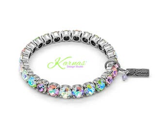 SUGAR KISSES 8mm KDS Stretch Bracelet Made With Swarovski Crystal *Pick Your Finish *Karnas Design Studio *Free Shipping