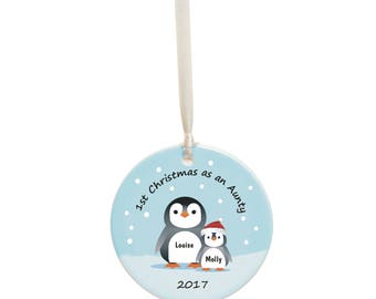 First Christmas As An Aunty Personalised Christmas Bauble -  Personalized Aunty Ceramic Christmas Tree Decoration - Holiday Ornament