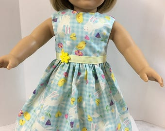 18 inch Doll Clothes, Adorable EASTER BUNNY, Baby Chicks & Speckled Eggs Dress, 18 inch Ag American Doll Clothes, 18 inch Doll Easter Dress!