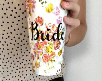 Bridal Coffee Mugs | Engagement Mug | Bride Travel Mug | Bridal Shower Gift | Gift for Bride | Engagement Gift | Ceramic Travel Mug |