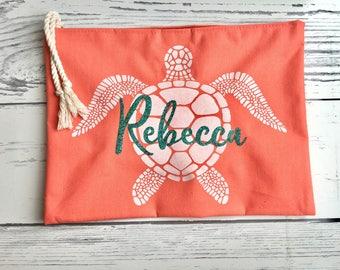 Large Personalized beach cosmetic bag, custom cosmetic bag, big monogrammed toiletry bag, beach wedding bridesmaid gift, turtle makeup bag
