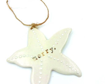 Porcelain merry starfish ornament
