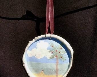 Handmade Christmas Beach Scene with Sandcastle, Clay Ornament