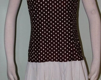"Sz 8/10, dropped waist dress with polka dots, vintage 1960's, 39"" hips"