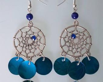 Lagoon blue dream catcher earrings