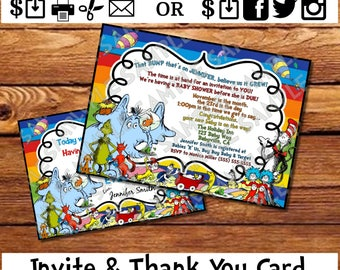 Dr. Seuss Baby Shower Invite and Thank You Card Dr. Seuss Inspired Rainbow Colors Party Invitation
