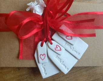 3 clay gift tags with mini heart tag,  white clay 'with love' gift tags.
