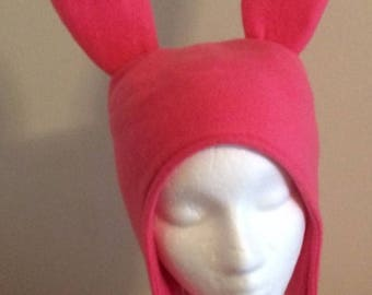 Pink Bunny Ears hat - Five Sizes: XS, S, M, Lge & X Lge
