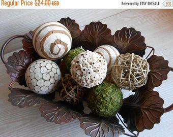 ON SALE Set of 8 Decorative Balls, Bowl Fillers, Wedding Table Decor, Rustic decor, Cottage Style,Eco Friendly Decor, Natural Decor Country,
