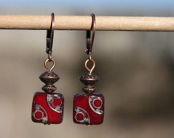 Red Earrings Dangle Earrings Drop Earrings Czech Glass Earrings Copper Small Earrings Gift for women Birthday Gift for her