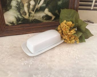 Vintage BIA Cordon Bleu Ironstone Butter Dish with Lid