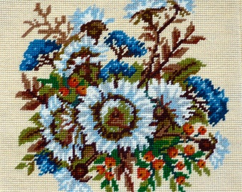 Vintage Finished / Completed Needlepoint - Floral Design of Firethorn (Feuerdorn) - Stitched on Rico Gobelin Canvas (W. Germany)
