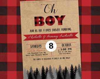 Baby Shower Invitations Flannel oh boy