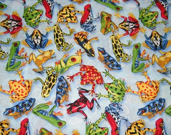 BTY LEAPING FROGS Allover on Blue Print 100% Cotton Quilt Crafting Fabric by the Yard