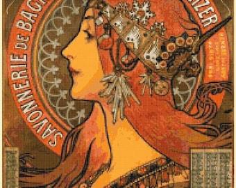 moucha Cross Stitch Pattern Pdf moucha pattern needlework needlecraft korss - 193 x 276 stitches - INSTANT Download - B1323