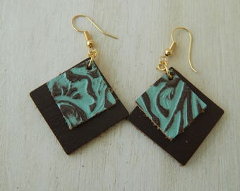 Double layer turquoise and brown leather embossed earrings, beach boho earrings, organic jewelry, summer fashion, southwest, geometric