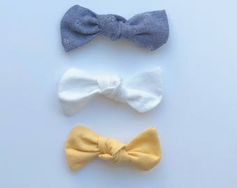 SET OF 3, Knot Bows, nylon headband, alligator clip, infant, toddler, baby gift, chambray, white, yellow