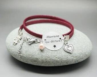 """bracelet similicuir métallisé prune cabochon """"Marraine qui déchire"""" coeur - bracelet personnalisable - godmother gift"""