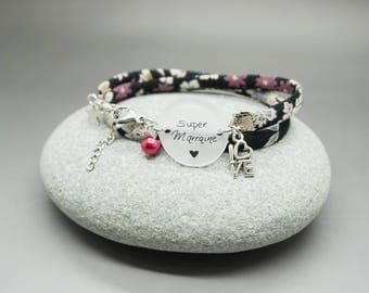 """bracelet liberty cabochon """"Super Marraine"""" fée étoile personnalisable"""