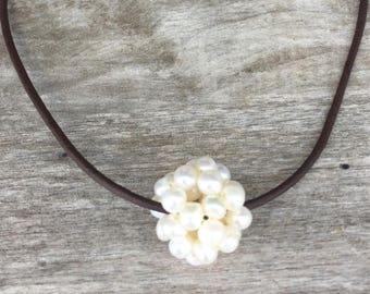 Leather and Pearl Necklace - Freshwater Pearl Cluster Ball Necklace - Leather and Pearls