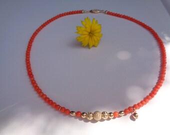 Coral necklace, salmon in 585 gold filled, elegant design