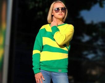 Handmade hoodie, Colorful hoodie, Asymmetric hoodie, Green hoodie, Yellow hoodie, Hoodies for women, Cotton hoodie