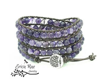 Amethyst gemstone leather wrap bracelet, beaded wrap bracelet, leather bracelet, boho leather wrap bracelet, tree of life jewelry, purple