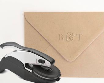 Ampersand Monogram Embosser Stamp, Personalized Embosser, Initials Embosser, Wedding Monogram Embosser, Custom Embosser Seal (EMONO126)