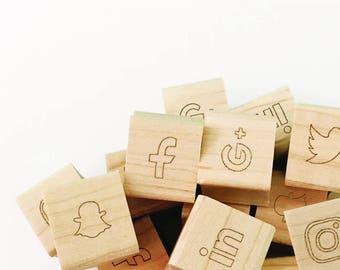 Mini Social Media Icon Rubber Stamp, Self Inking Social Media Stamp, Hand Drawn Icon Stamp, Social Media Stamp, Planner Stamps (SBIZZ109)