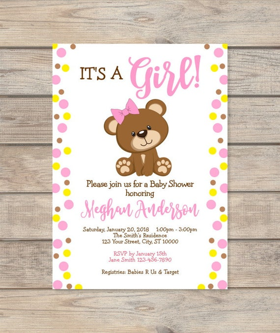 Girl Teddy Bear Baby Shower Invitation Custom Pink Dots Baby