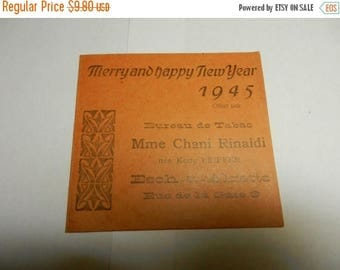 Fall Sale Vintage 1945 Merry and Happy New Year Card Bureau de Tabac