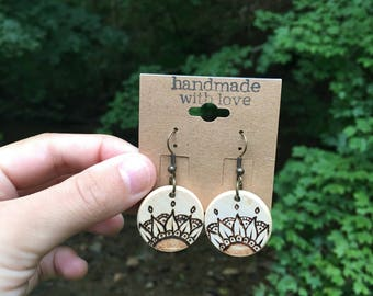 MANDALA woodburned earrings