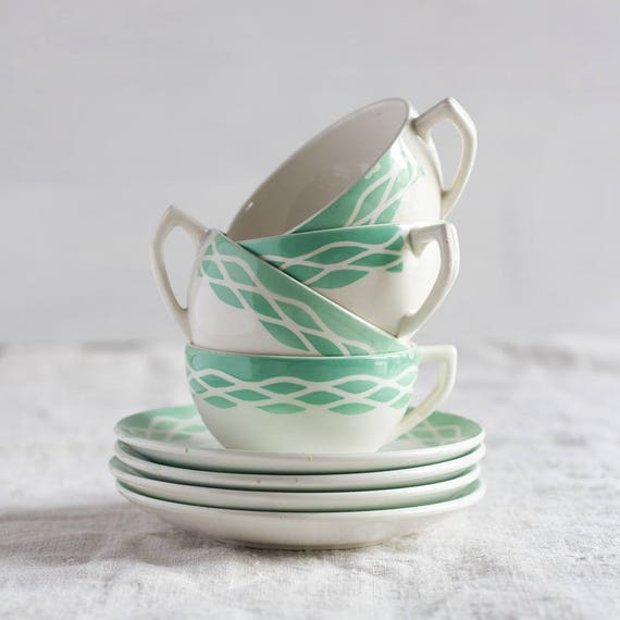RESERVED - CLEARANCE - French Seafoam Ripple Tea Cups - Set of 4